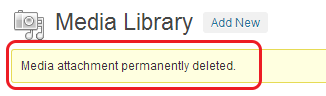 WordPress > Media Library > Deletion Alert