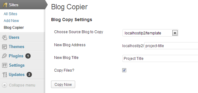 WordPress Blog Copier