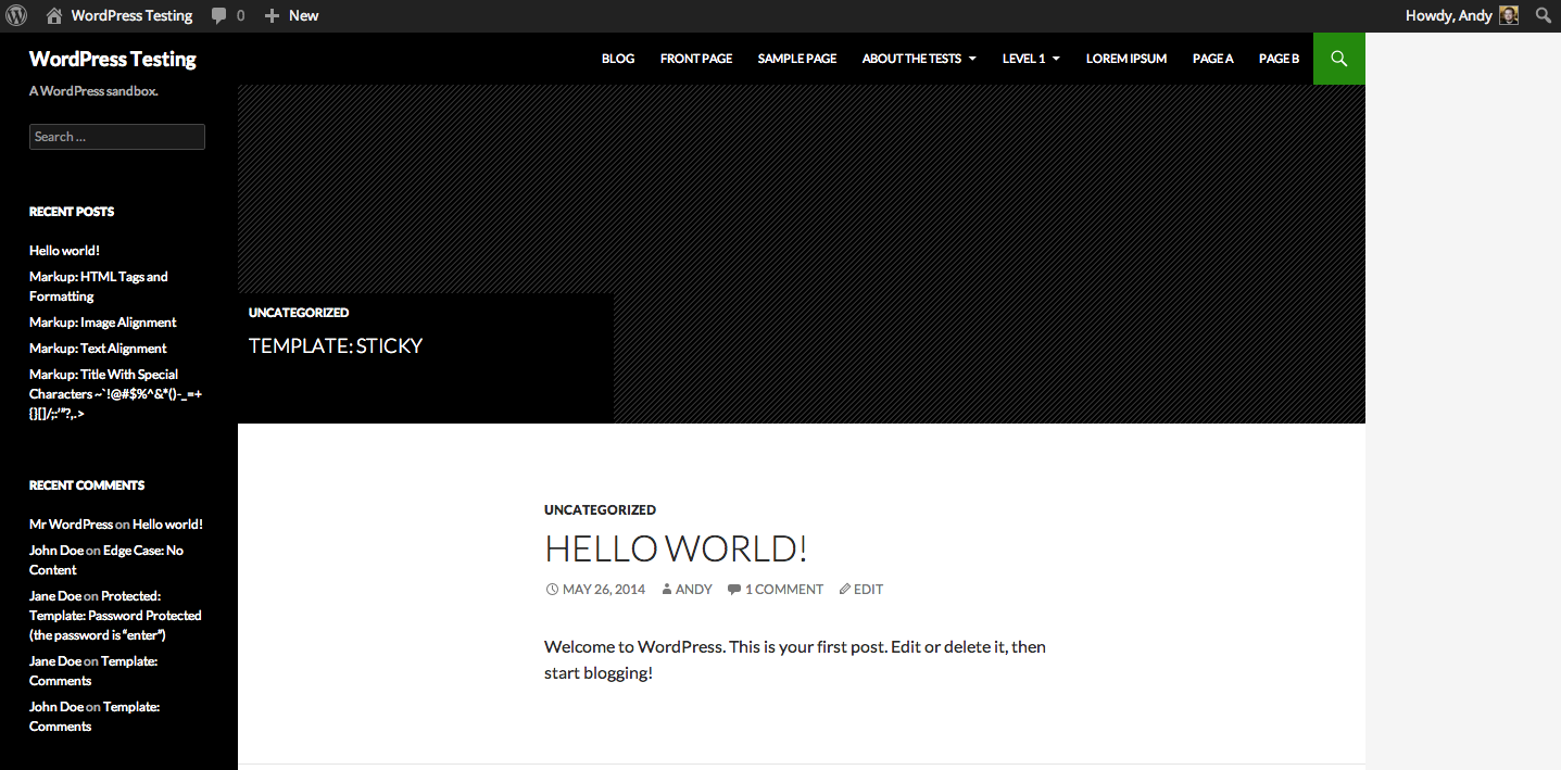 WordPress Front End - 2014 Theme